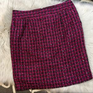 Ann Taylor pink red tweed skirt size 12